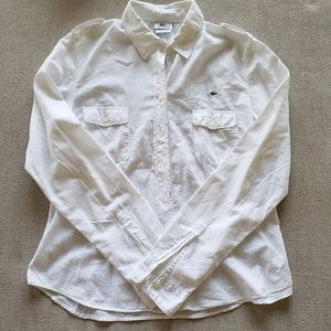 Lacoste button up collared white shirt